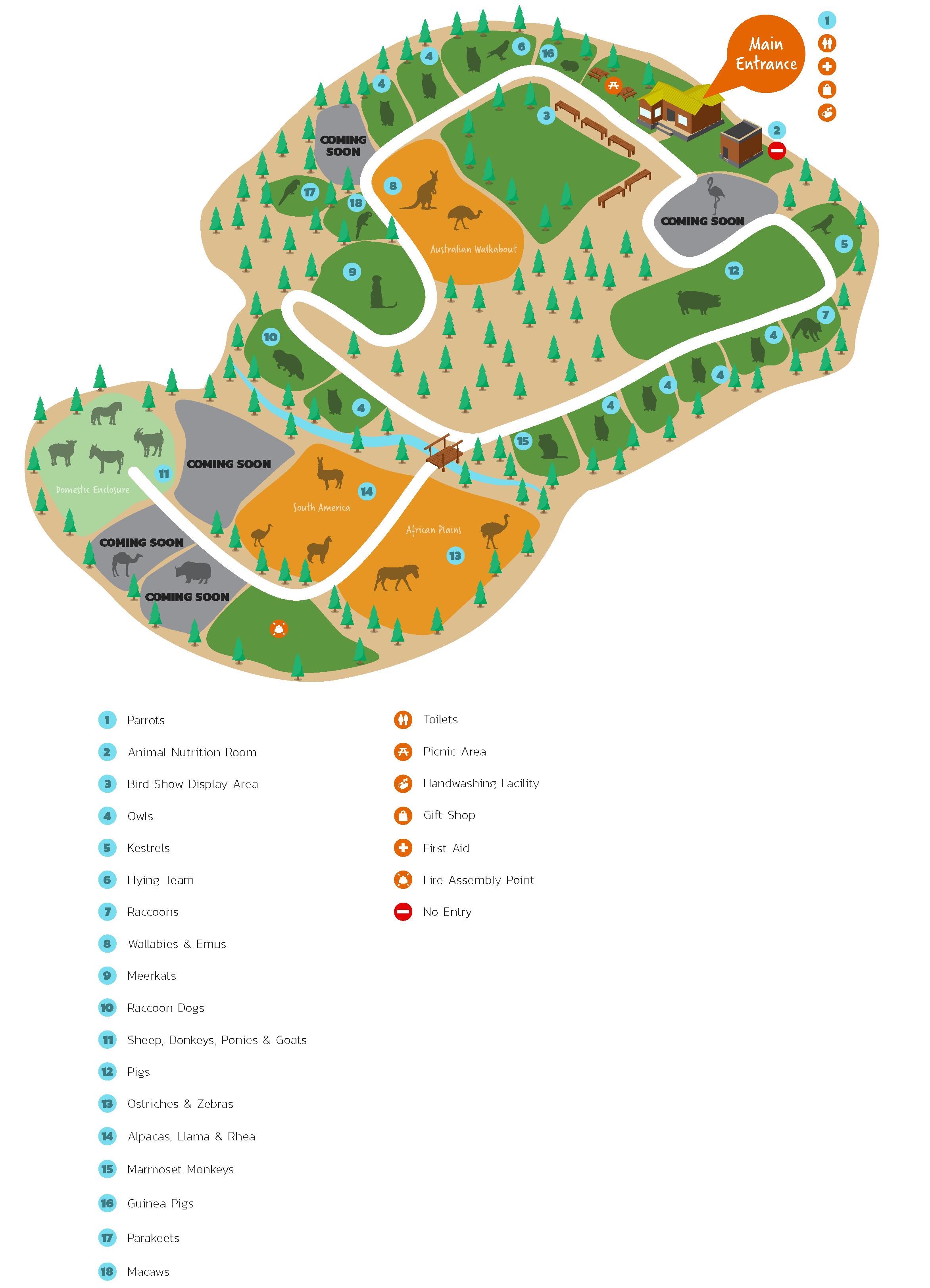 map of brid animal park